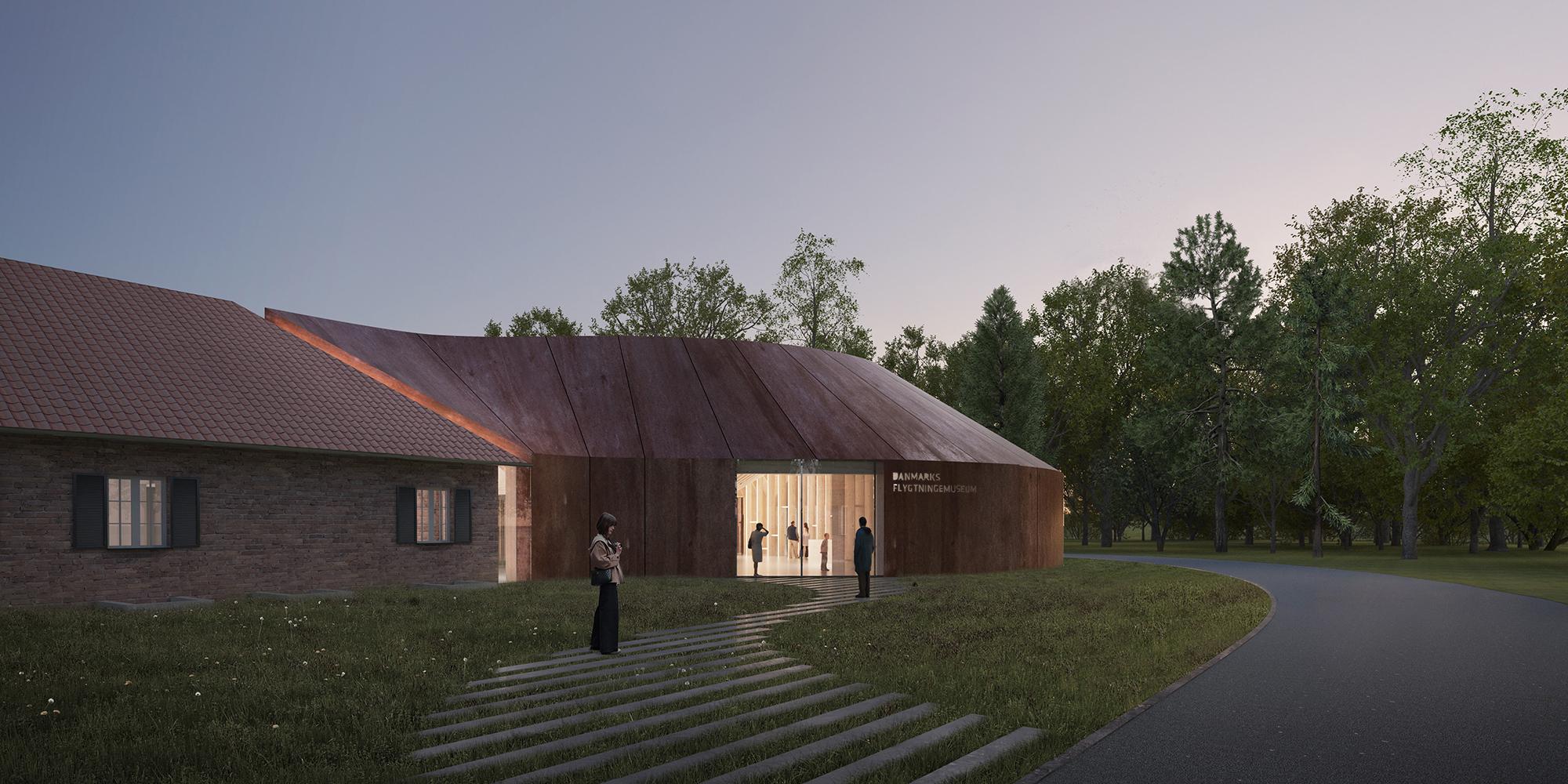 Det nye flygtningemuseum set udefra. BIG rendering.